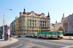 Prague, colorful tram rides along the waterfront. Crossroad Resslova and Masaryk Station Royalty Free Stock Photography