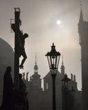 Prague - cross from Charles bridge Stock Photo