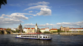Prague Cruise Trip. Prague cruise on the Vltava river Royalty Free Stock Photos