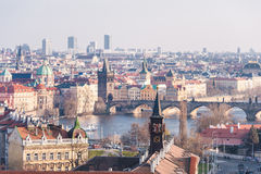PRAGUE, CZECH - MARCH 14, 2016: Cityscape of Prague with Lvtana River and Charles Bridge. Royalty Free Stock Images