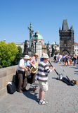 Prague, Czech Rep: Musicians on Charles Bridge Royalty Free Stock Images