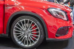 Closeup of red brand new Mercedes Benz stock images