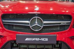 Closeup of red brand new Mercedes Benz stock photo
