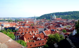 Prague, Czech Rep: View of Mala Strana District. View from Prague Castle to the Mala Strana district with its orange roofed buildings and many churches ih Prague Stock Photos