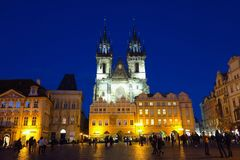 Prague, Czech Republic Old Town Square Tyn Church at night Stock Photos