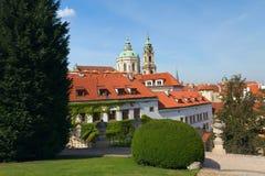 Prague (Czech Republic). Prague. View of the Church of St. Nicholas from Vrtbovska garden. (Czech Republic, Eastern Europe Stock Images