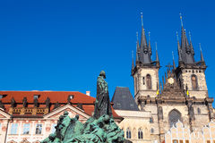 Prague, Czech Republic. The Jan Hus monument and the Tyn Church in the Old Town of Prague Stock Photography