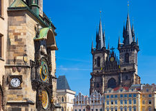 Prague, Czech Republic. Famous Astronomical Clock (Orloj) and the Tyn Church in Prague, Czech Republic Royalty Free Stock Photo