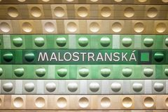 Free Prague, Czech Republic,23 July 2019; Malostranska Station Sign At Metro. Urban Scene, City Life, Public Transport And Traffic Stock Photos - 155505553