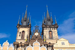 Prague, Czech Republic. The towers of the Tyn church in Prague, Czech Republic Stock Photo