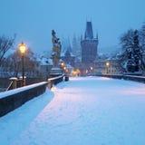 Prague, Czech Republic. Charles bridge in winter, Prague, Czech Republic Stock Image