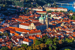 Prague, the Czech Republic. Aerial view of Mala Strana in Prague, with the Church of St. Nicholas Stock Images
