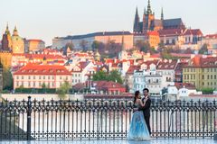 Free Prague, Czech Republic - April 20, 2019: Young Asian Couple At Wedding Photo Session At The Charles Bridge In Prague At Sunrise, Royalty Free Stock Images - 158586389