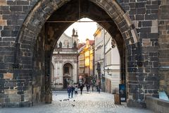Prague, Czech Republic - April 20, 2019: Architecture of the Charles bridge in Prague at sunrise, Czech Republic royalty free stock photo