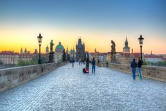 Prague, Czech Republic - April 20, 2019: Architecture of the Charles bridge in Prague at sunrise, Czech Republic royalty free stock images