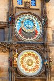 Prague Astronomical Clock on wall stock photography