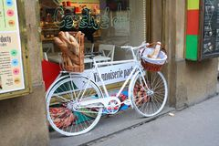 Prague, Czech republic - April, 02, 2013: image of show window on a bakery royalty free stock photography