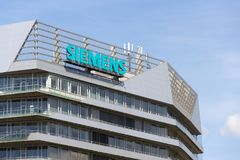 Siemens company logo on headquarters building. PRAGUE, CZECH REPUBLIC - APRIL 27 2018: Siemens company logo on Czech headquarters building on April 27, 2018 in Royalty Free Stock Photo