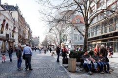PRAGUE, CZECH REPUBLIC - April 9, 2015 : Tourists on foot Street Stock Images