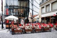 PRAGUE, CZECH REPUBLIC - April 9, 2015 : Tourists on foot Street Royalty Free Stock Photos