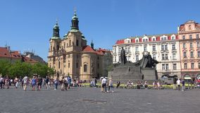 View of the Church and the monument to Jan Hus in the old town square. Prague stock footage