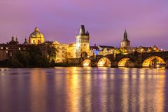 Prague, Czech Republic, April 22, 2019 - View of the evening Charles Bridge. Twilight on the Vltava in Prague royalty free stock photos