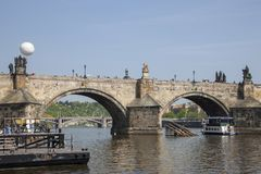 Prague, Czech Republic - April 20, 2011: view of the Mala Strana from the right bank . Pleasure boat on the river stock photos