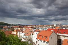 View from Vysehrad after rain, Prague, Czech Republic. Prague,Czech Republic - April 23,2017: View from Vysehrad after rain.It is a historic fort located in the Stock Image