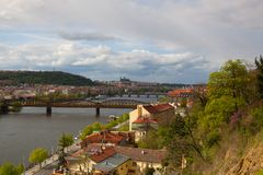 View from Vysehrad after rain, Prague, Czech Republic. Prague,Czech Republic - April  23,2017: View from Vysehrad after rain.Vysehrad is a historic fort located Royalty Free Stock Images