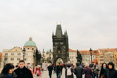 Prague, Czech Republic - 04 02 2013: Architecture, buildings and landmark. View of the streets of Praha stock images