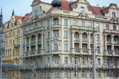 Prague / Czech Republic 04.02.2019: Architecture on the Old Town Square of Prague, Czech Republic. Prague in the capital of Czech stock image
