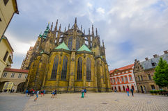 Prague, Czech Republic - 13 August, 2015: Beautiful St. Vitus cathedral as seen from behind building, stunning facade Royalty Free Stock Image