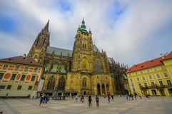 Prague, Czech Republic - 13 August, 2015: Beautiful St. Vitus cathedral as seen from street level, profile angle Stock Image