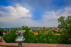Prague, Czech Republic - 13 August, 2015: Beautiful view point over city, great rooftops overview background and green Stock Images