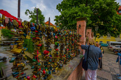Prague, Czech Republic - 13 August, 2015: Bridge of locks with thousands padlocks latched on Stock Photos