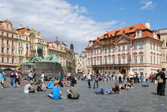 PRAGUE, CZECH REPUBLIC - AUGUST 28, 2011: The central square wit Stock Image