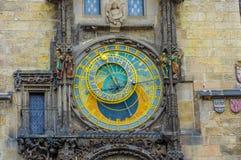 Prague, Czech Republic - 13 August, 2015: Closeup famous astronomical clock tower located in city centre Stock Photography