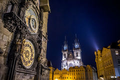 Prague, Czech Republic - 13 August, 2015: Closeup famous astronomical clock tower located in city centre, towers Church Royalty Free Stock Photo