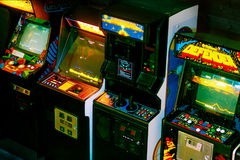 PRAGUE - CZECH REPUBLIC, August 5, 2017 - Detail on 90s Era Old Arcade Video Games. In Gaming Bar Stock Image