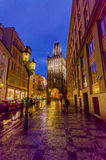 Prague, Czech Republic - 13 August, 2015: Famous Tower of powder as seen from street view on a beautiful evening Royalty Free Stock Photos