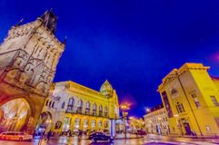 Prague, Czech Republic - 13 August, 2015: Famous Tower of powder as seen from street view on a beautiful evening Stock Image