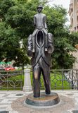 Franz Kafka Statue in Prague. Prague, Czech Republic: Franz Kafka Statue in Jewish Quarter by sculptor Jaroslav Rona royalty free stock images