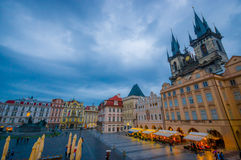 Prague, Czech Republic - 13 August, 2015: Great overview of beautiful old town square sorrounded by spectacular Stock Photo