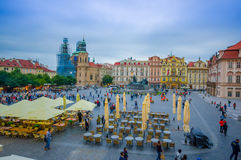 Prague, Czech Republic - 13 August, 2015: Great overview of beautiful old town square sorrounded by spectacular Royalty Free Stock Photo