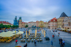 Prague, Czech Republic - 13 August, 2015: Great overview of beautiful old town square sorrounded by spectacular Royalty Free Stock Image