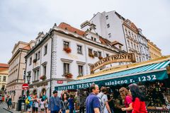 Havel`s Market and tourist people in Prague, Czech