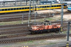High angle view of locomotive the train station. Prague, Czech Republic - August 21, 2017:High angle view of locomotive in train station of Prague Royalty Free Stock Photos