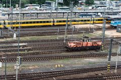 High angle view of locomotive the train station. Prague, Czech Republic - August 21, 2017:High angle view of locomotive in train station of Prague Stock Photos
