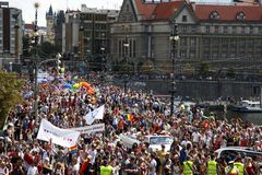 Prague / Czech Republic -August 11. 2018 : LGBT Pride March royalty free stock image