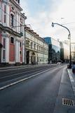 Street in historic centre of Prague. Prague,  Czech Republic - August 18, 2017: Narodni Street and Nova Scena building at sunset Stock Images